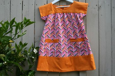 Chevron and orange ice cream dress