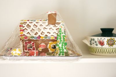 Gingerbread house on shelf