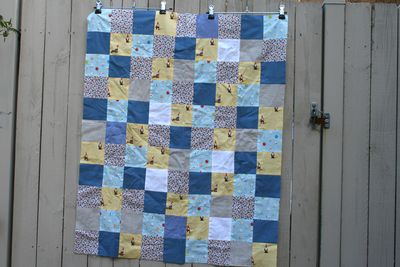Gnomes and marbles yellow blue quilt