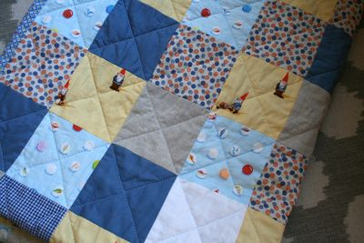 Marbles gnomes yellow blue baby quilt 2