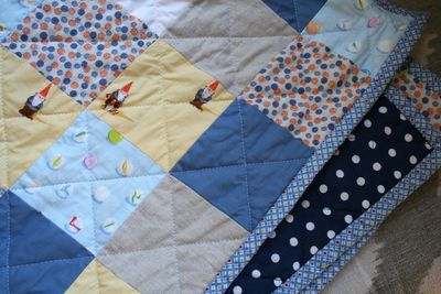 Marbles gnomes yellow blue baby quilt