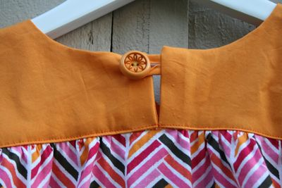 Chevron ice cream dress button loop