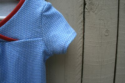 Hopscotch dress sleeve twin needle stitching