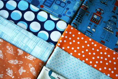 Robot blue orange quilt fabrics