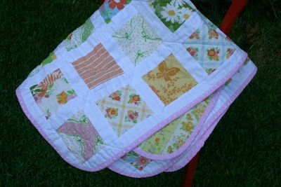 Dream on charm square quilt outside