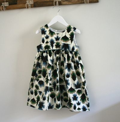 Liberty babycord geranium dress