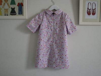 School photo dress lilac bunnies back