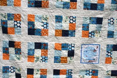 Rockets and robots blue orange quilt