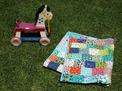 Flowers chatting quilt with retro fisher price horse