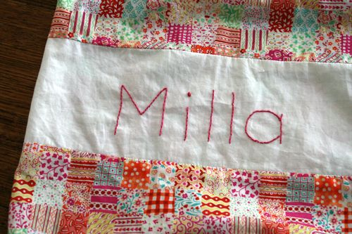 Preschool sheet bag name embroidery