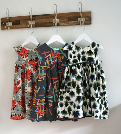 A bunch of geranium dresses