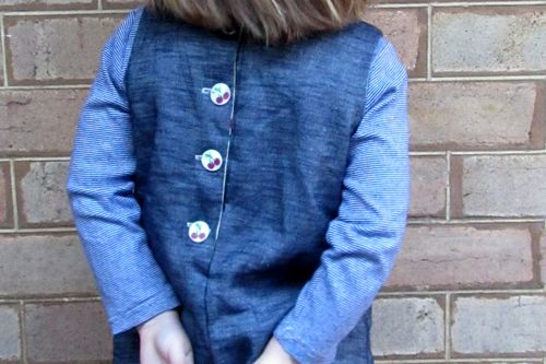 Denim pinafore worn back