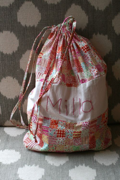 Preschool sheet drawstring bag