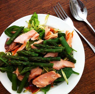 Trout asparagus salad