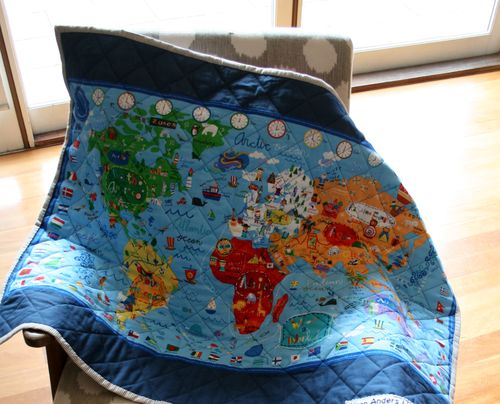 What a world map quilt back
