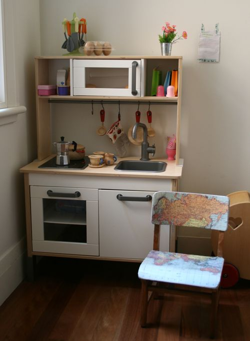 Map chair in kitchen