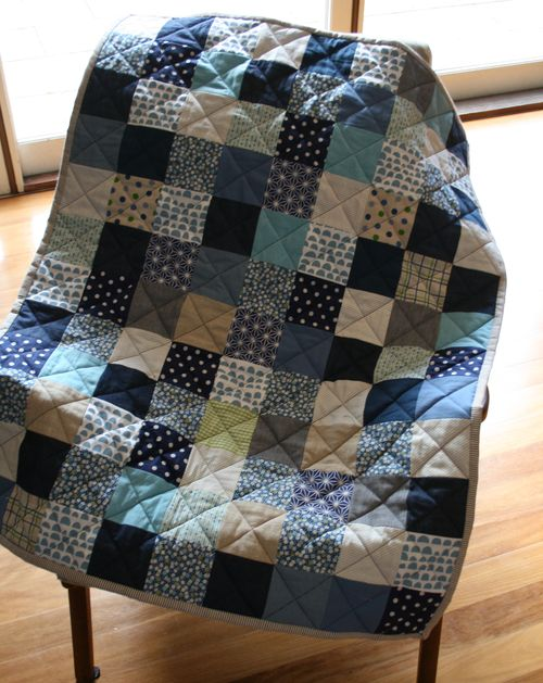 Baby quilt blue and green